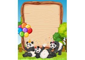 以森林为背景的派对主题熊猫空白木板_11693416