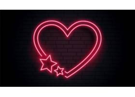 红色爱心与星形霓虹灯相框设计_12320027
