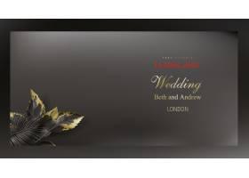 热带黑色和金色树叶在暗色背景上的矢量海报_4850098