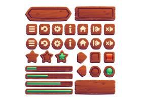 用于UI游戏的木制按钮_12632833