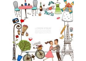 用情侣在爱情插图中写生巴黎元素_12858750