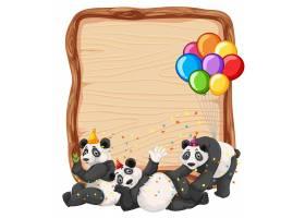 派对主题熊猫隔离的空白木板模板_11574954
