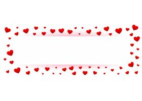 白色情人节彩旗配红心边框_12573254