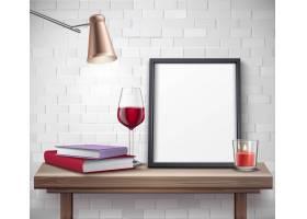 桌子上有酒杯烛灯和书的逼真框架模板_4005920