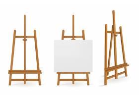 正面和侧面均为白色画布的木制画架或绘画艺_10412532
