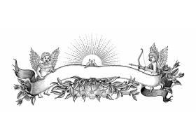 情人节横幅和边框插图复古风格的黑白剪贴画_12158772