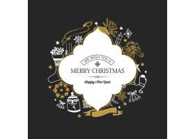 圣诞和新年贺卡边框上有铭文深色上手绘_11527541