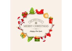 圣诞快乐新年贺卡精美边框书法题字_11527495