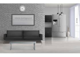 居家起居室工作室厨房简约风格的宽敞室_4015180