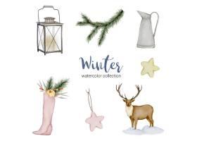 冬季水彩画收藏特色是水壶灯笼鹿和鞋_12677194