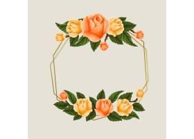 黄色和橙色玫瑰花的春季相框_6838755