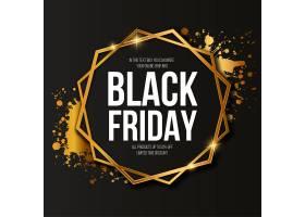 黑色星期五促销横幅镶有优雅的金色边框_10640539