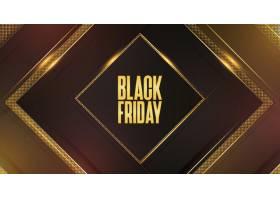 黑色星期五促销背景带有抽象的3D金色边框_10554803
