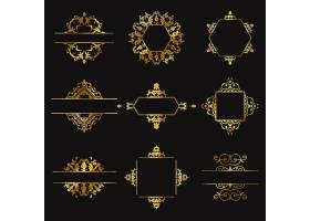 黑色背景上的九个金色装饰品_945782