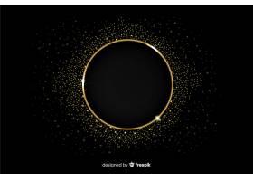 黑色背景上的金色闪闪发亮的镜框_5146741