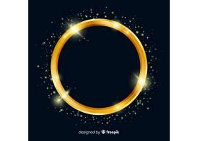 黑色背景上的金色闪闪发亮的镜框_5146745