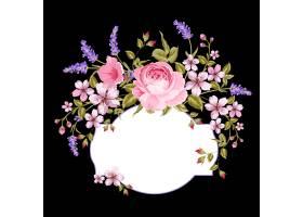 黑色背景上盛开的玫瑰和薰衣草_10120912