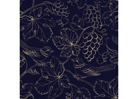 黑色背景带有金色的葡萄浆果和叶子_10122882