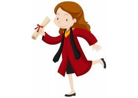 身穿红色毕业礼服的女子_6904788