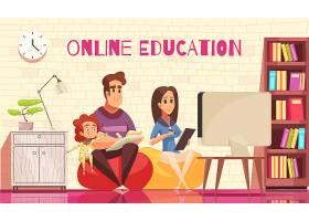 带着孩子学习家庭远程教育与电脑前的年轻父_6845873