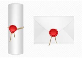 白色信封和红蜡模板卷轴_8924614