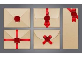蜡封信封和明信片贴有贺卡和纸质邀请函_6862921