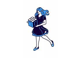女孩手里拿着礼盒等轴测矢量插图图标_12089305