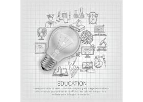带有学习素描图标和逼真灯泡的教育理念_3977397