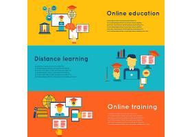 带有远程学习和培训元素的在线教育平面横幅_4348103