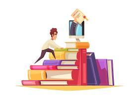 在线课程卡通作文与研究生攀登课本堆积拿到_6845877