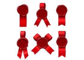 蜡邮品广告有六个不同形状的红缎带和印章_6862923