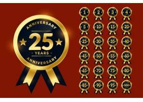 时尚的黄金周年纪念标签或标志徽章大套装_10136746