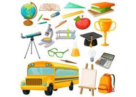 学校图标配有巴士学习用品和文具矢量插_9376979