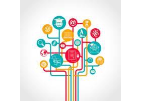 带有电子学习培训资源图标的在线教育树概念_4664330