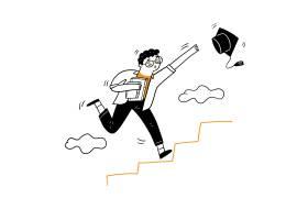 年轻人跑上楼梯抢毕业帽矢量插图卡通涂鸦_12332965