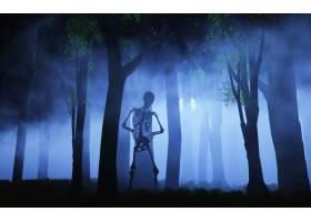 雾蒙蒙的森林里一具骷髅的万圣节背景_93578201