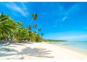 美丽的热带海滩大海和沙滩蓝天白云上有_418818401