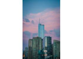 美国芝加哥的摩天大楼蓝天上点缀着美丽的_781038201