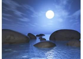 日落天空下海洋中岩石的3D渲染_1176784701