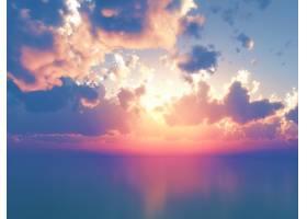 日落天空衬托下的3D海洋_127069901