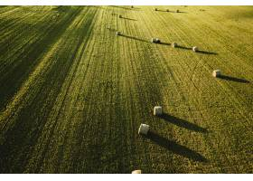 大片美丽的农田上面堆满了一堆堆的干草_781057401