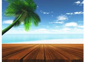 以热带海滩为背景的木质甲板_93578101