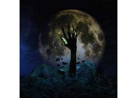 万圣节的背景僵尸的手从地上喷发出来_95790001