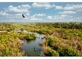 人们乘船享受大自然的湿地鸟瞰_1306090001