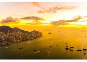 香港城市天际线上美丽多彩的日落_3531241