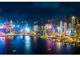 美丽的建筑建筑香港城市天际线的外部城市景_3500981