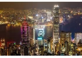 美丽的建筑建筑香港城市天际线的外部城市景_3500983