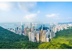 美丽的建筑建筑香港城市天际线的外部城市景_3707130