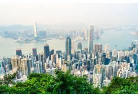 美丽的建筑建筑香港城市天际线的外部城市景_3707131