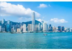 美丽的建筑建筑香港城市天际线的外部城市景_4188045